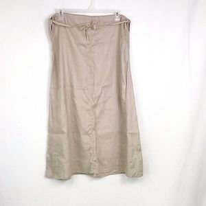 Sundance Tan Drawsting Waist 100% Linen Skirt E46